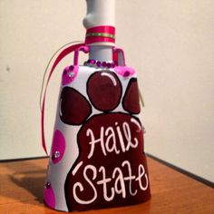 Painted cowbell! MSU State College, State University, College Football Games, Mississippi State Bulldogs, Diy Letters, Cute Gifts, Girly Things, Perfume, Crafty