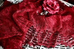 Dark red lace I Red lace trim I Red lace I Red lingerie lace I Red lace fabric I Red tulle lace I border lace I Sewing supplies I Wide lace by SixthCraft on Etsy