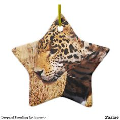 Leopard Prowling Double-Sided Star Ceramic Christmas Ornament