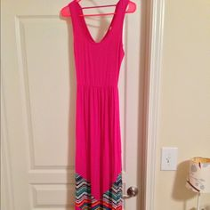 """NEW Pink Owl Maxi Dress, size small NEW Pink Owl Maxi Dress. Size small. Bright pink with gorgeous chevron detail. The style and bright colors are perfect for spring and summer!! You will love this gorgeous dress - it will become your """"go to"""" dress for the whole season!! 95% rayon, 5% spandex. Pink Owl Dresses Maxi"""