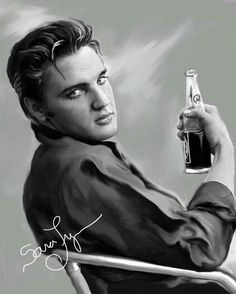 """( ☞ 2017 IN MEMORY OF ★ † ELVIS PRESLEY """" Rock & roll ♫ pop ♫ rockabilly ♫ country ♫ blues ♫ gospel ♫ rhythm & blues ♫ """" ) ★ † ♪♫♪♪ Elvis Aaron Presley - Tuesday, January 08, 1935 - 5' 11¾"""" - Tupelo, Mississippi, USA. † Died; Tuesday, August 16, 1977 (aged of 42) Resting place Graceland, Memphis, Tennessee, USA. Cause of death: (cardiac arrhythmia). Painted by Sara Lynn Sanders"""