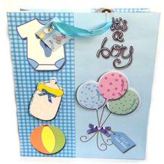 Sacola de Presente para Festas Bebê Azul 32x26x12cm Pacote com 06 unidades.