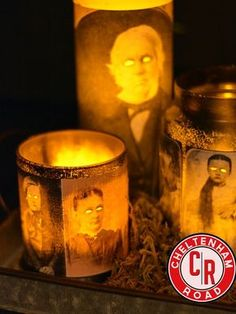 candle holders painted and printed pictures mod podged. use electric tea lights