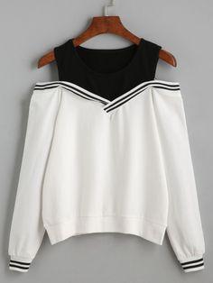Sweat-shirt épaules nues à rayure contrasté-French SheIn(Sheinside)