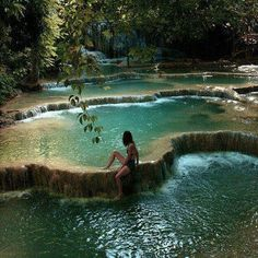 Waterfall Pools in Erawan National Park, Kanchanaburi, Thailand.....