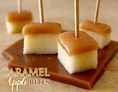 Amaretto-Spiked Caramel Apple Bites....http://pizzazzerie.com/recipes/recipe-amaretto-spiked-caramel-apple-bites/