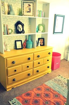 cute, paint dresser bold color, find quiet wallpaper and put into top shelf area