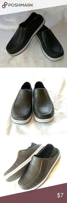 Men's slip on croc-like run-around shoes These are good slip-ons for that quick dash outside of around the house. The heel is a flexible neoprene that you can wear over your heel or just skip your foot in and push the heel down for an open-heel sandal. Shoes Loafers & Slip-Ons