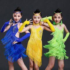Child Tassels Girls Sexy Green Yellow Sequined dancing dress Kids Samba Competition Ballroom Salsa Latin Fringe Dress