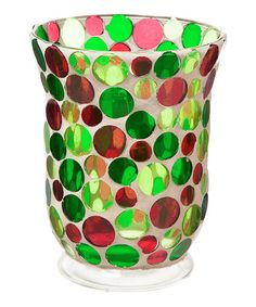 Another great find on #zulily! Holiday Polka Dot Glass Candleholder #zulilyfinds