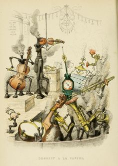 """""""Steam Concert,"""" from """"Un Autre Monde"""" by Grandville — 1844 Memento Mori, Illustrations, Book Illustration, Fantasy Monster, Weird Creatures, Typography Prints, Musical Instruments, Les Oeuvres, Concert"""