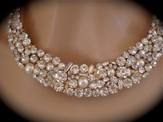 Swarovski Pearl and Crystal Bridal Statement Necklace. $250.00, via Etsy.
