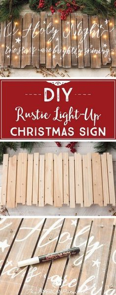 christmas signs DIY Rustic Light-Up Christmas Sign, DIY Christmas Decor, O Holy Night, Christmas Craft Tutorial Holiday Crafts, Holiday Fun, Rustic Christmas Crafts, Rustic Crafts, Diy Christmas Projects, Rustic Christmas Decorations, Christmas Crafts For Gifts For Adults, Christmas Wooden Signs, Merry Christmas Sign Diy