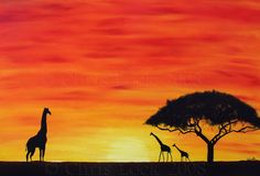 Sunset Silhouette by ~ChrisLocksArt on deviantART Sillouette Painting, Sketch Painting, Sunset Silhouette, Silhouette Art, Giraffe Pictures, Spray Paint Art, Paint And Sip, Pretty Photos, Pyrography