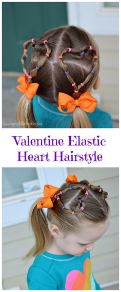 Heart Shaped Hairstyles are definitely popular during Valentine& Day. Learn how to do this 10 minute elastic heart shaped hairstyle! Easy Toddler Hairstyles, Little Girl Hairstyles, Trendy Hairstyles, Crazy Hair For Kids, Crazy Hair Days, Chocolate Blonde, Wedding Curls, Hair Color Pink, Hair Colors
