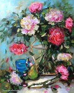 Pink Cascade Peonies, 20X16, oil www.nancymedina.com