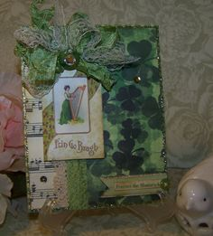 St. Patricks Day Card Handmade Vintage Style Erin by TheNestinSLT
