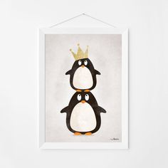 Poster print Wandkunst. Illustration-Kunst mit niedlichen Pinguine. Kinder und Kindergarten Wandkunst zum sofortigen Download. In 3 Größen erhältlich.