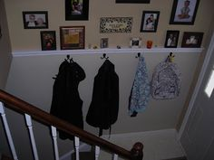 A shelf with hooks along that huge wall Split foyer / bi-level / raised ranch