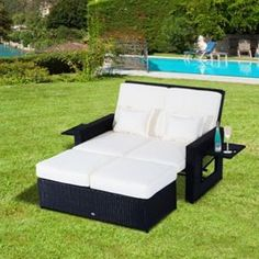outsunny garden rattan furniture outdoor 2 seater sofa sun lounger patio daybed love sunbed fire retardant sponge black already assembled price