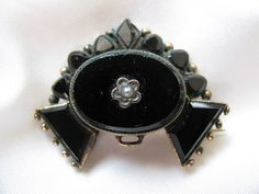 Victorian Mourning brooch French Jet Seed Pearl