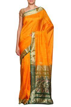 Yellow daagina silk peshwai paithani saree | Karagiri