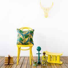 Chitenche Cushion (palms), Fertility Doll (emerald), Namji Doll (yellow), Ashanti Stool (yellow) and Nguni Wire Head (yellow) by Safari Fusion www.safarifusion.com.au