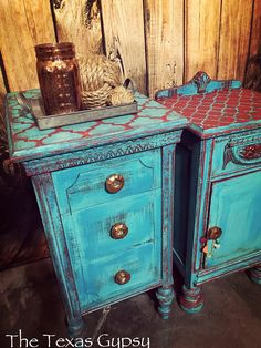Antique Boho Gypsy Turquoise Red Mix & Match Nightstands End Tables Side Tables Cabinets Decoupage Furniture, Chalk Paint Furniture, Hand Painted Furniture, Repurposed Furniture, Furniture Projects, Furniture Makeover, Wood Furniture, Vintage Furniture, Turquoise Furniture