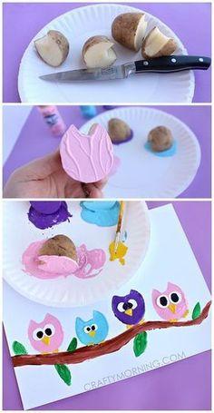 Potato Print Owl Craft for Children - Crafty Morgen - Juna Rosenfeld - . - Potato Print Owl Craft for Children – Crafty Tomorrow – Juna Rosenfeld – - Kids Crafts, Owl Crafts, Animal Crafts, Summer Crafts, Toddler Crafts, Projects For Kids, Diy For Kids, Arts And Crafts, Summer Art Projects
