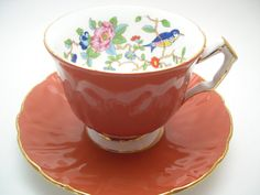 Aynsley Pembroke Bird Tea cup and saucer by AntiqueAndCrafts