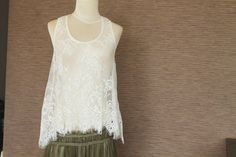 Off White Lace Tank Top Vintage by TequilaCloset on Etsy, $28.00