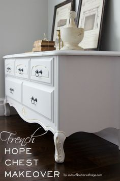 Beautiful transformation of French hope chest | somuchbetterwithage.com