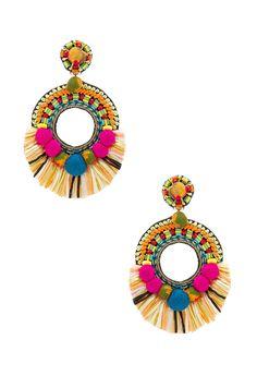 Ranjana Khan Raffia Hoop Earring en Multi | REVOLVE