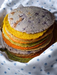 Handmade Corn Tortillas (Kale, Turmeric, Cilantro, Blue-Corn, Paprika, Achiote, and Ancho Powder)