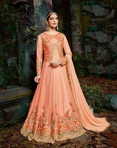 ee78babf42 Traditional fashion for everyday life Traditional fashion jacket style  orange dress YEJEFHI Indian Anarkali, Anarkali