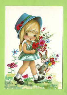 Postcard Doll Vintage 70s. By Nuco. Big eyed door bluumievintage