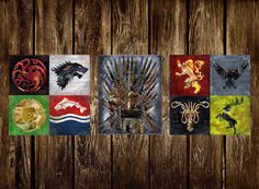 Game of Thrones Wall Art Triptych. This listing is a high quality giclee PRINT of my original painting of a eight family crests and the Throne of swords from the book series Game of Thrones. These three images are printed on a special archival matte paper which is acid-free and ideal for digital fine art reproductions and is said to last at least 200 years with fading! The original image is scanned to give the absolute clearest quality possible. The largest sizes available will still have…