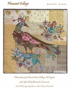 This is a collage pattern. The pattern includes complete instructions to collage the pheasant. Your fabric selections will give your bird a different look. The supply list gives a guideline to choose your fabrics for this collage.Size - x Wool Applique Quilts, Applique Quilt Patterns, Laura Heine, Laundry Basket Quilts, Hanging Quilts, Quilt Sizes, Penny Rugs, Pheasant, Quilt Making