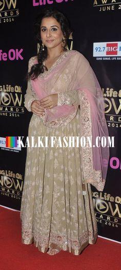 Vidya Balan attended the Life OK Awards 2014 in Manish Malhotra's floor length embellished anarkali suit .. http://www.kalkifashion.com/
