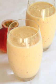 This is a superbly simple mango peach and passion fruit smoothie. Creamy tasting, healthy and packed with vitamins. Just a really great start to the day.