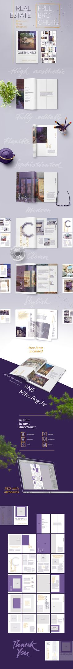 Free Real Estate Brochure Template — Queenliness on Behance