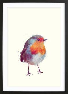 Winter Robin als Gerahmtes Poster von Amy Hamilton | JUNIQE