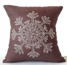 Taupe Burlap Pillows Christmas Pillow Snowflake by AmoreBeaute