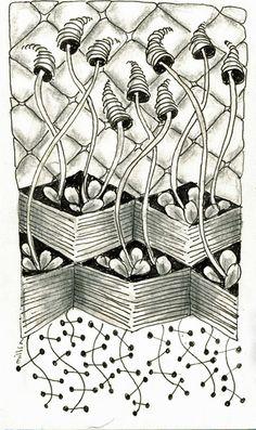 Tanyan kuviohaasteen 7 kuviot innostivat tekemään esittävän kuvan.  Ei siis aivan zentangle kuva, tätä ei voi katsella joka suunnasta.   Välillä muutakin taimikasvatusta kuin tomaattien.   Omavalinta kuvio on Florz