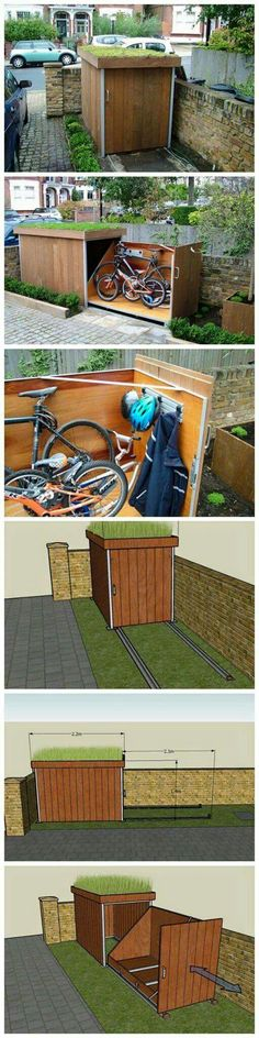 Amazing Shed Plans - Un rangement à vélos plutôt sympa Now You Can Build ANY Shed In A Weekend Even If You've Zero Woodworking Experience! Start building amazing sheds the easier way with a collection of shed plans! Woodworking Projects Diy, Woodworking Plans, Woodworking Videos, Outdoor Projects, Home Projects, Garage Velo, Outdoor Bike Storage, Bicycle Storage, Build A Bike