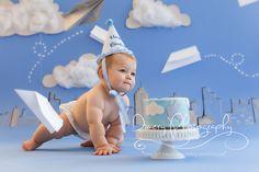 paper airplanes, city themed cakesmash, airplane cake smash, boys cake smash, blue first birthday © Dimery Photography 2013