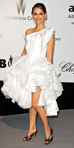 2008: NATALIE PORTMAN    Years before her Oscar-winning performance in Black Swan, Natalie seemed to be prepping for the role with this sculptural white Givenchy number.