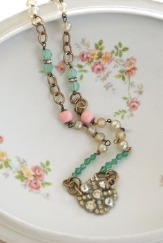 Evelynvintage rosary style pastel beaded by tiedupmemories on Etsy, $46.00