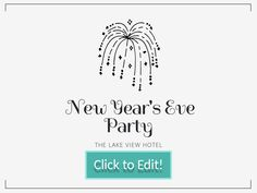 black firework on a customizable new year party invitation for a facebook post with a white