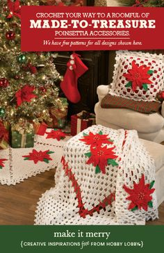 Hobby Lobby Project - Make It Merry - crochet, pillows, poinsettia, patterns, free, Christmas, gifts, needle art, crafts, afghans, tree skir...